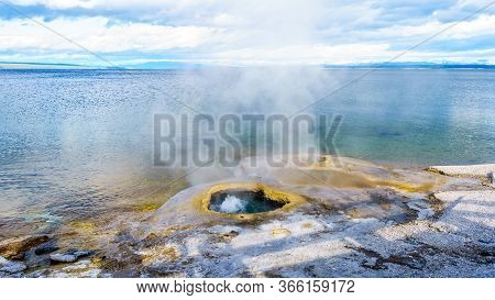 The Lakeshore Geyser In The West Thumb Geyser Basin In Yellowstone National Park, Wyoming, United St