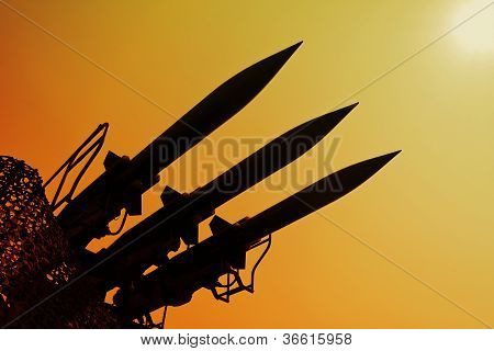 Silhouette Of Rockets