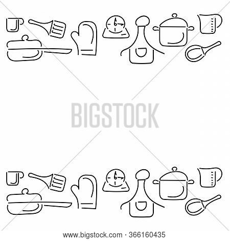 Cooking Template Frame With Cutlery, Kitchen Utensils. Hand Drawn Cutlery. Place For Text. Vector Il
