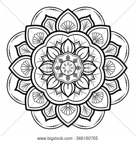 Circular Flower Mandala With Vintage Floral Style, Vector Mandala Oriental Pattern, Hand Drawn Decor