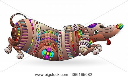 Illustration In Stained Glass Style With Abstract Fun Dog Dachshund, Dog Isolated On A White Backgro