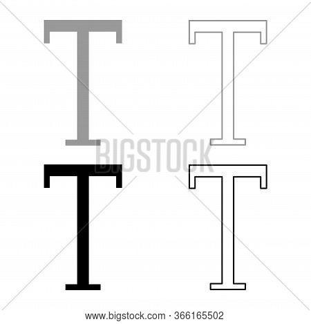 Tau Greek Capital Letter Uppercase Font Outline