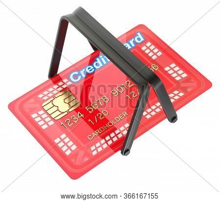Online Shopping Concept With Shopping Basket In The Credit Card - 3d Illustration