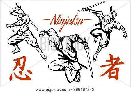 Ninja Warrior Vector Illustration. Silhouette Of Japanese Fighter. - English Translation - Ninja