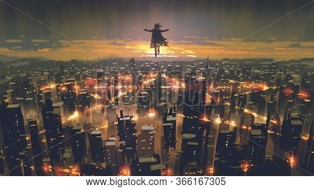 Man Floating In The Sky And Destroys The City With Evil Power, Digital Art Style, Illustration Paint
