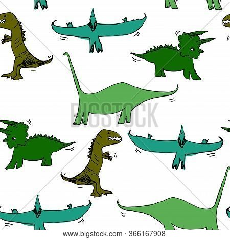 Vector Seamless Pattern With Pterodactyl, Tyrannosaurus, Triceratops, Diplodocus. Illustration With