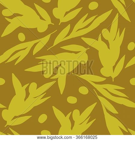 Seamless Pattern Olives. Olive Branches Silhouette Isolated On Olive Background. Randomly Arranged B