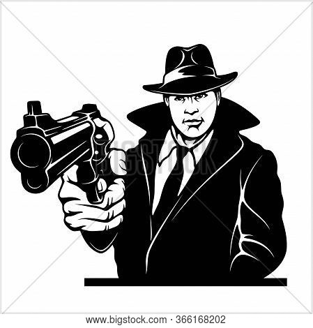 Gangster With Gun. Cop With Colt. Vector Illustration