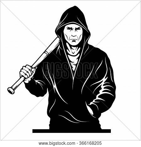 Man With A Baseball Bat. Thug - Ghetto Warrior. Vector Illustration Isolated On White