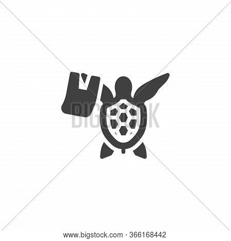 Ocean Pollution Vector Icon. Filled Flat Sign For Mobile Concept And Web Design. Turtle With Rubbish