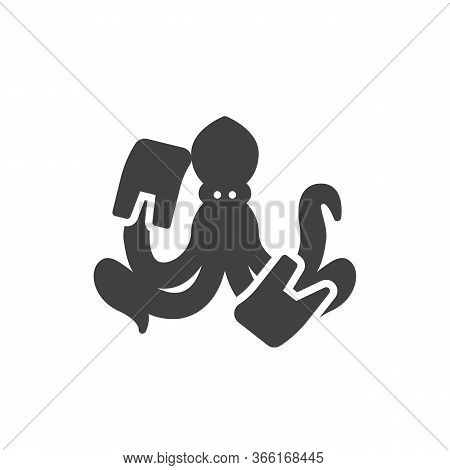 Ocean Pollution Vector Icon. Filled Flat Sign For Mobile Concept And Web Design. Octopus With Rubbis