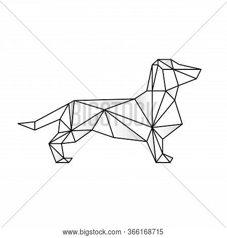 Triangulate Dachshund Geometric Style Vector. Contour For Tattoo, Emblem, Logo And Design Element. H