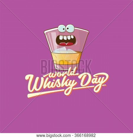 World Whisky Day Banner With Vector Funny Cartoon Smiling Whiskey Glass Character Isolated On Violet