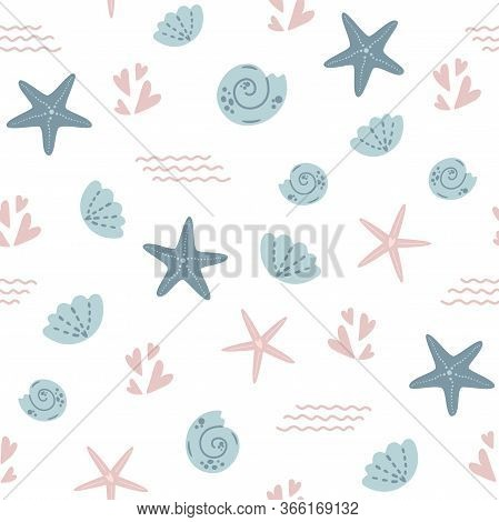 Starfish Seamless Pattern Summer Sea Star Pattern, Cute Seashells Light Background. Nautical Baby Te