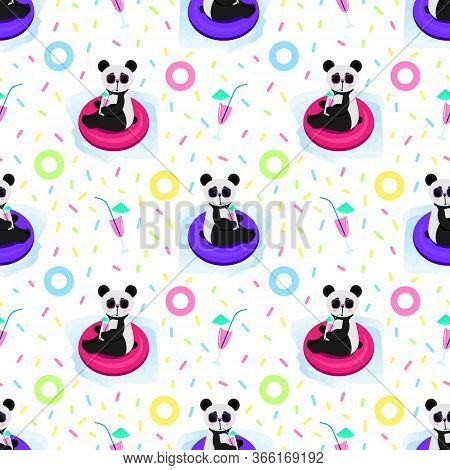 Cute Cartoon Panda Swims In The Pool. Panda In Glasses Drinks A Cocktail. Seamless Pattern. Vector I