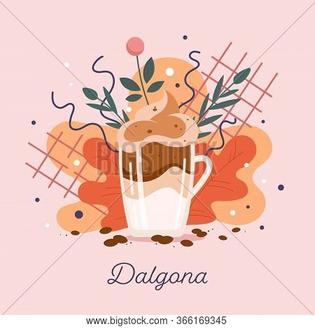Appetizing Vector Isolated Illustration Of Dalgona - Asian Coffee Drink From South Korea. Whipped Mi