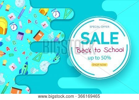 Back To School Sale Sign. Back To School Banner, Vector Banner Set Of Schoolbags, Back To School Con