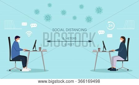 social distancing vector illustration, Social distancing, keep distance in public society people to protect from covid-19. Man and woman working on laptops computers, online working maintain social distancing to prevent from virus spreading and flu preven