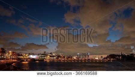 Panorama Of Cruise Ship And Cruise Port Miami. Skyscrapers In Miami. Downtown Miami, Florida, Usa