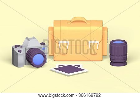 Amateur Photographer Set  Illustration. Camera, Photographic Paper, Lens And Case Flat Style Design.
