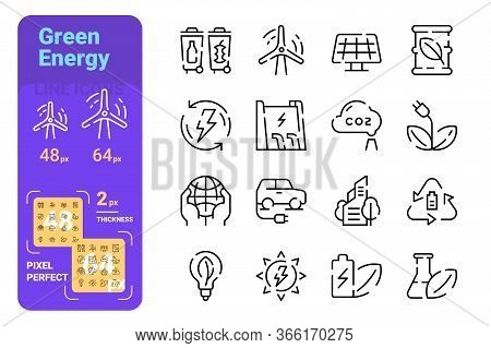 Green Energy Line Icons Set Vector Illustration. Collection Of Renewable Energy Symbols Pixel Perfec