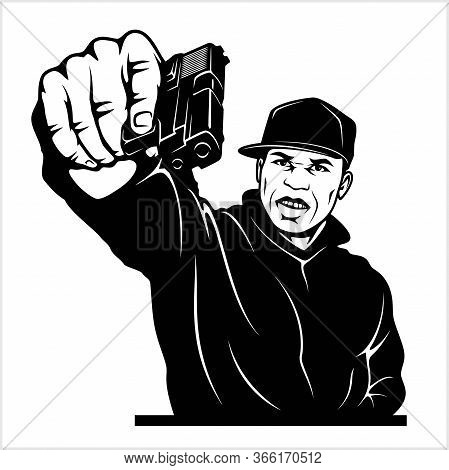 Man With Gun. Ghetto Warriors. Vector Illustration Isolated On White