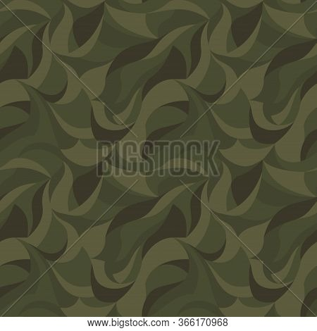 Curly Waves Tracery, Colored Curved Lines. Stylized Abstract Camouflage Petals Pattern. Vector Green