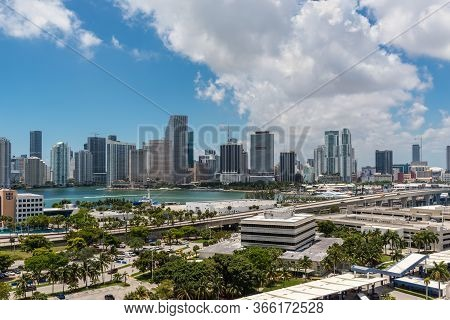 Miami, Fl, United States - April 27, 2019: Downtown Of Miami Skyline Viewed From Dodge Island At Bis