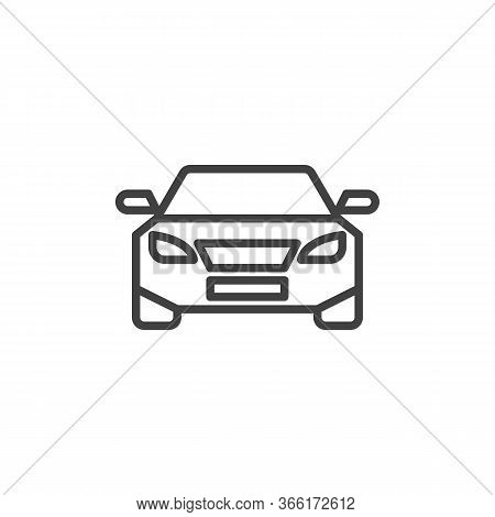 Car, Front View Line Icon. Automobile Linear Style Sign For Mobile Concept And Web Design. Vehicle,