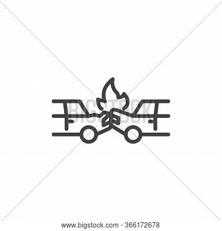Car Crash Accident Line Icon. Linear Style Sign For Mobile Concept And Web Design. Auto Accident Out