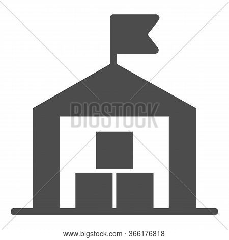 Warehouse Solid Icon, Transportation Delivery Service Symbol, Storage Building With Flag Vector Sign