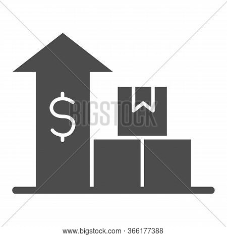 Boxes With Up Arrow And Dollar Solid Icon, Delivery And Logistics Symbol, Delivery Finance Graph Cha