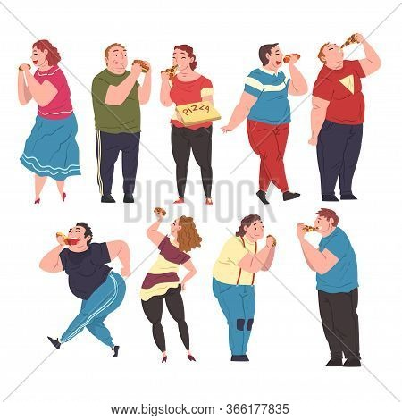 Cheerful Fat People Eating Fast Food Set, Cheerful Obese Men And Women Enjoying Of Junk Food, Unheal