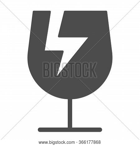 Broken Glass Symbol Of Fragile Cargo Solid Icon, Logistic And Delivery Symbol, Fragile Or Breakable