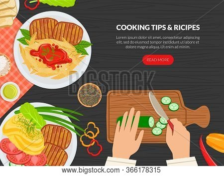 Cooking Tips And Receipes Landing Page Template, Top View Of Table With Chefs Hands, Online Recipes,