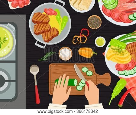 Chef Cook Preparing Food, Top View Of Kitchen Table With Chefs Hands And Healthy Delicious Dishes Ba