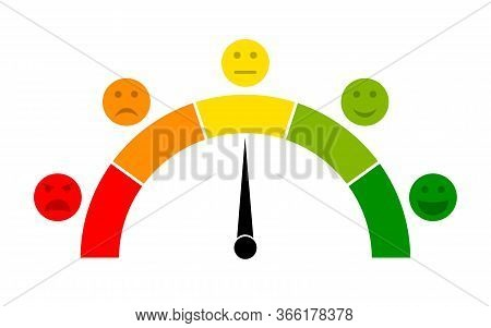 Meter Icons. Speedometer With Scale Emotion Satisfaction And Stress. Score Of Customer. Rating, Feed