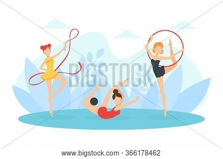 Flexible Professional Female Gymnasts Doing Rhythmic Gymnastics With Ribbon, Ball And Hoop Vector Il