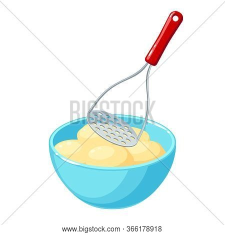 Making Mashed Potatoes: Masher And Bowl Of Potato Tubers. Vector Illustration Cartoon Flat Icon Isol