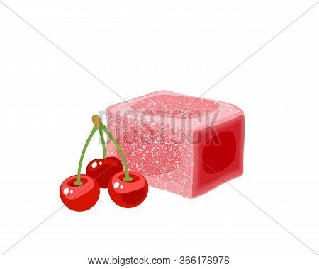 Turkish Delight, Lokum. Traditional Oriental Sweet Candy With Cherry. Vector Illustration Cartoon Ic