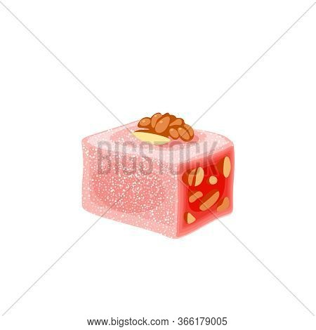 Turkish Delight, Lokum. Traditional Oriental Sweet Candy With Walnut. Vector Illustration Cartoon Ic
