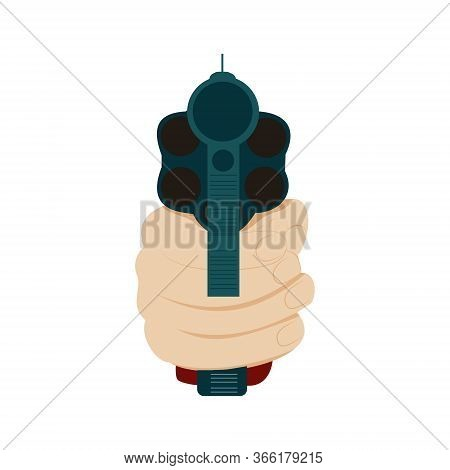 Hand Holding Gun In Front View, Vector Illustration