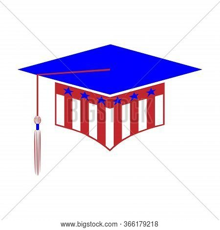Graduation Hat Styled In The Colors Of The Usa Flag Isolated On White Background.