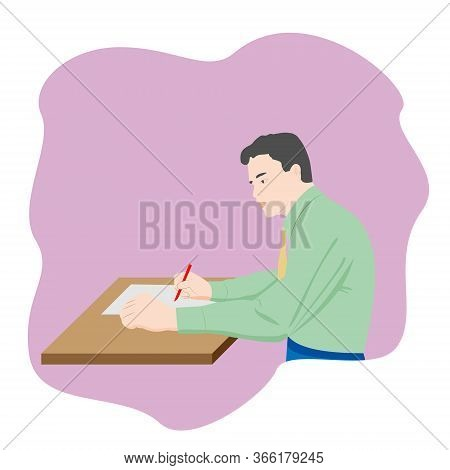 The Man Sitting At The Table And Writing Notes On A Piece Of Paper With A Pen.