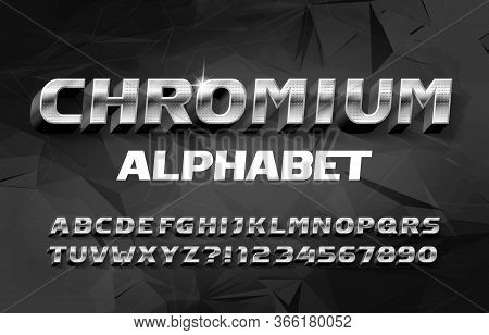 Chromium Alphabet Font. 3d Metal Effect Letters And Numbers With Shadow. Abstract Polygonal Backgrou