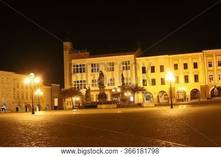 Night View Of The Historic Town Square Of Pribor, Birthplace Of Sigmund Freud, Czech Republic