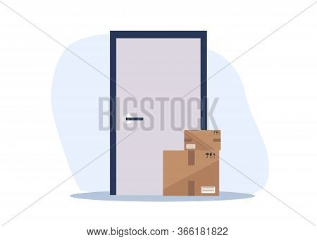 Contactless delivery left at the door during the quarantine. House entrance with delivered box. Control Epidemic Prevention measures of coronavirus. Contactless delivery concept illustration. Vector scene with courier and woman in protective masks and foo