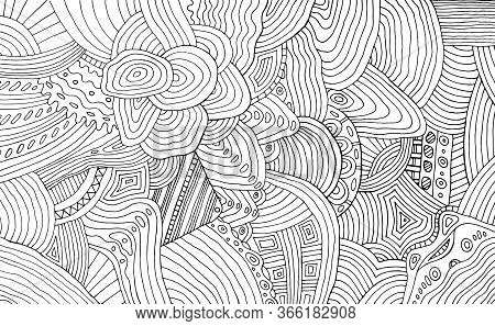 Black And White Doodle Stripe Pattern. Coloring Page With Outline Abstract Detalized Ornament. Psych
