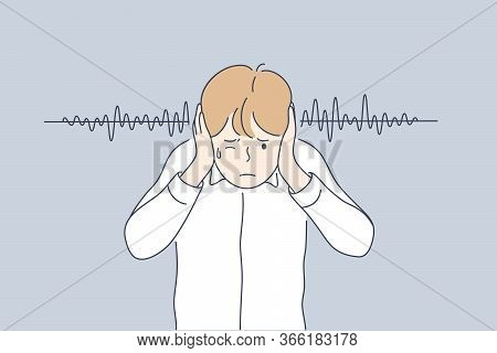Noise, Stress, Protection Concept Young Frustrated Depressed Stressful Boy Kid Child Cartoon Charact