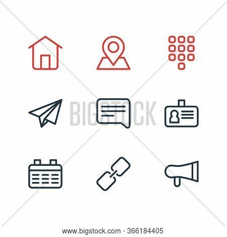 Illustration Of 9 Contact Icons Line Style. Editable Set Of Link, Location, Bullhorn And Other Icon